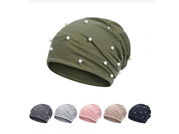 Stylová bavlněná beanie čepice s perličkami