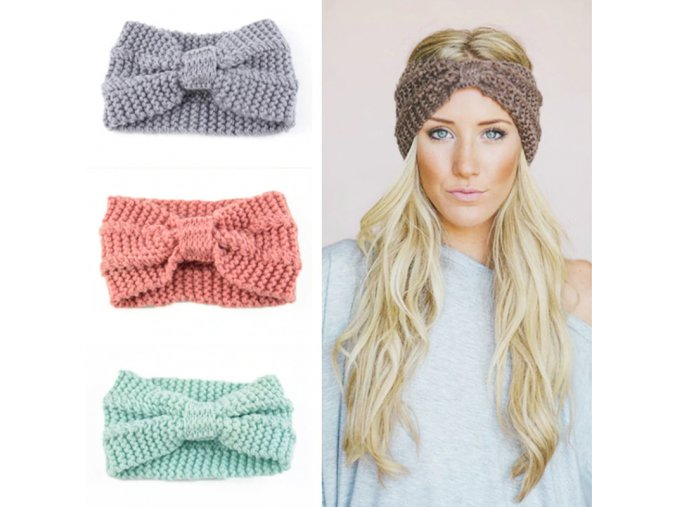 Zimní pletená čelenka s mašlí - 3 barvy