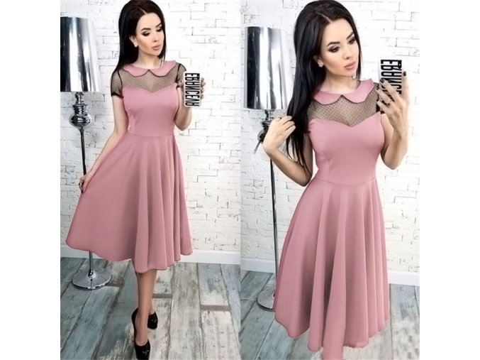 Dámské společenské šaty s krátkým rukávem - 4 barvy