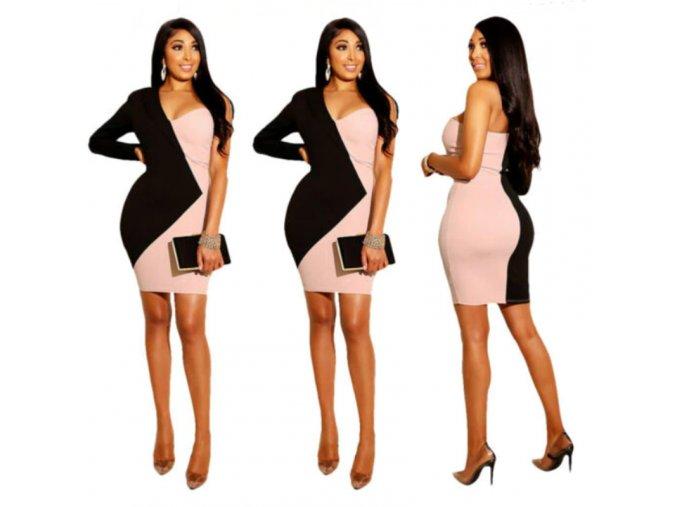 Společenské asymetrické pouzdrové šaty