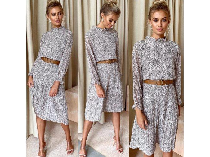 Dámské podzimní šaty s plisé sukní