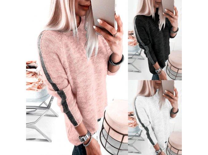 Dámský melírovaný svetr s lampasem
