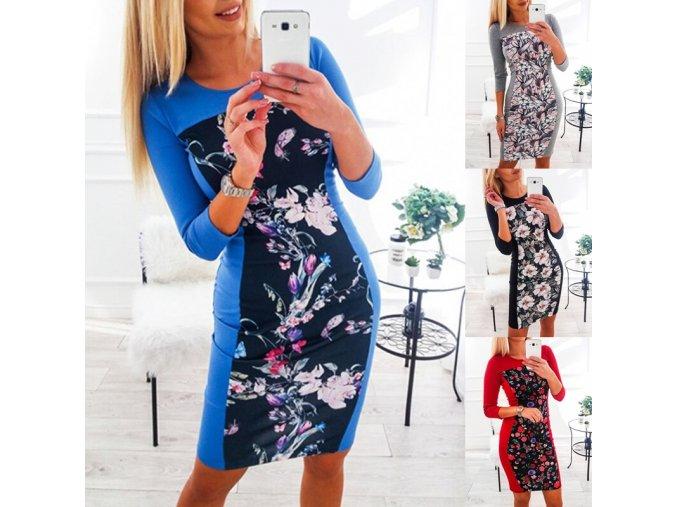 Podzimní zeštíhlující šaty s květy - 4 barvy