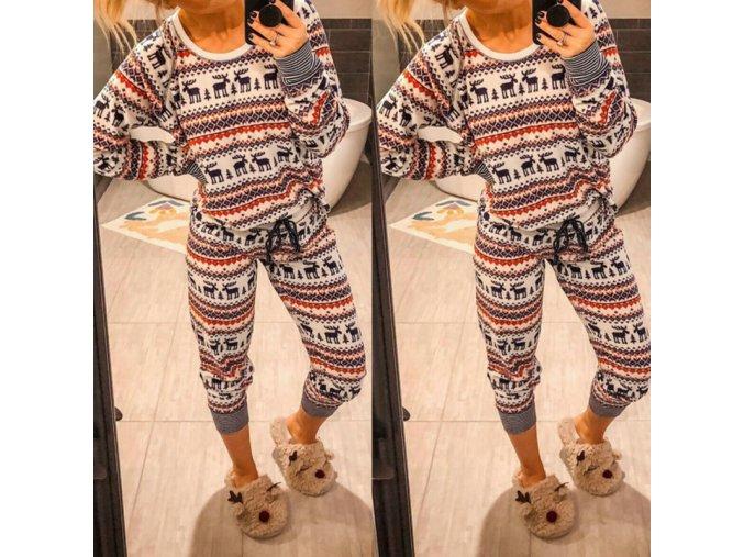 Dámské teplé vánoční pyžamo