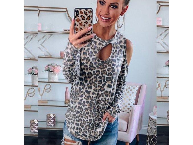 Dámské silnější tričko s leopardím potiskem