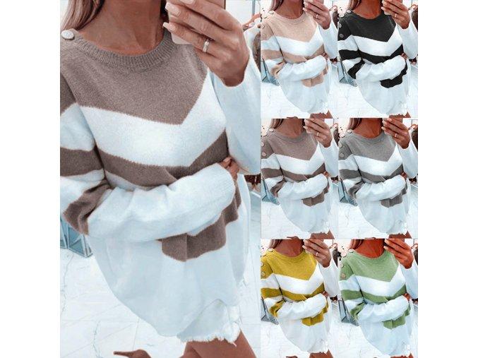 Dámské svetrové šaty s dřevěnými knoflíky - 6 barev