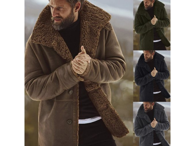 Ultrateplý pánský kabát s kožichem