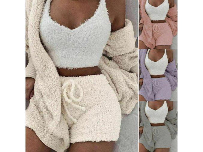 Dámská huňatá souprava pyžamko - 3 kusy - tílko + kraťasy + svetr