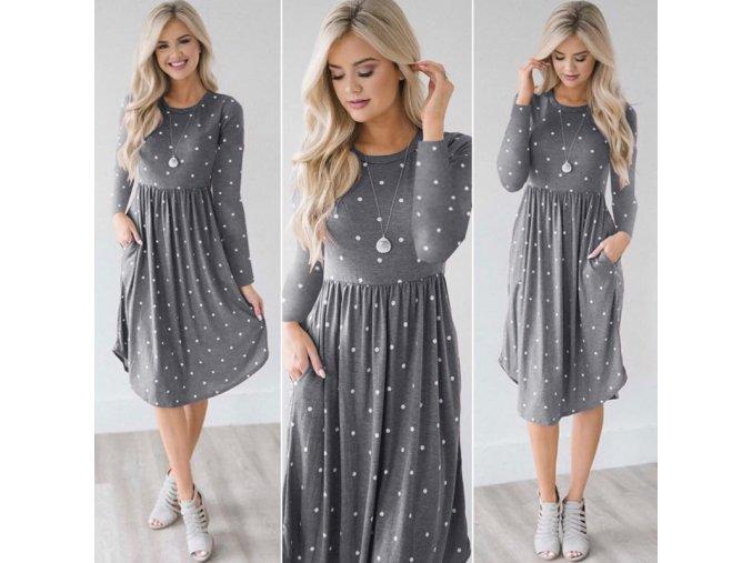Pohodlné bavlněné šaty s puntíky