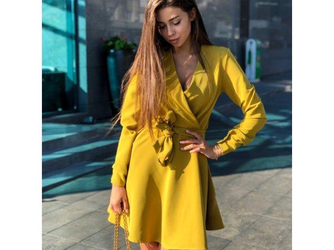 Podzimní zavinovací šaty s dlouhým rukávem