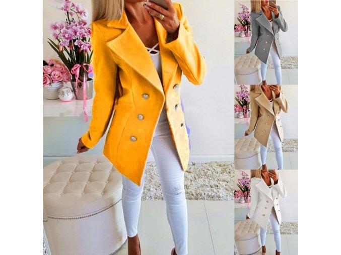 Dámský podzimní dvojřadý kabátek - 4 barvy až 3XL (Barva Béžová, Velikost S)