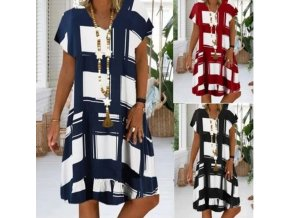 Volné kostkované šaty- až 5XL