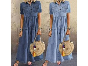 Maxi džínové šaty s knoflíky a krátkým rukávem