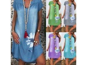 Dámské riflové šaty s  krátkým rukávem a potiskem kytky - až 3XL