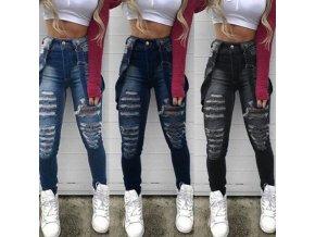 Dámské roztrhané džíny s kšandami a vysokým pasem