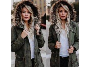 módní hit - Dámská zimní bunda s kapucí a kožíškem