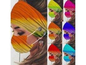 Rouška - sada čelenky + roušky v duhových barvách