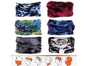Módní šátek s různými potisky - vhodný jako rouška