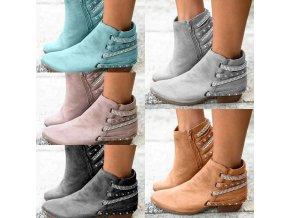 Dámské podzimní kotníkové boty na nízkým podpatku zdobené kamínky - více barev