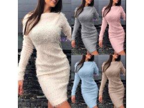 Dámské plyšové šaty s dlouhým rukávem vhodné na zimu - až 3XL