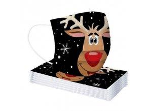 Vánoční dětská jednorázová rouška se sobem 50ks