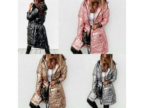 Dámský dlouhý zimní lesklý kabát s kapucí - až 5XL