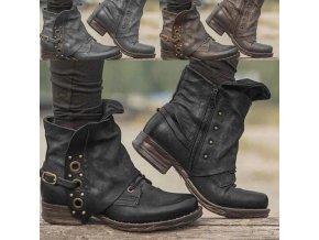Podzimní boty na nízkém podpatku zdobené řemínkem - více velikostí