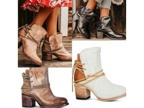 Podzimní kotníkové boty na podpatku v kovbojském stylu