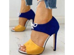 NEW - dámské boty na podpatku ve žluto modré barvě s tkaničkou