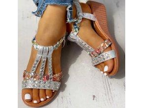 Dámské letní sandálky na klínku zdobené kamínky