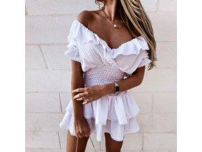 Krásné letní šaty se spadlými rameny a volánky