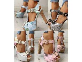 Letní sandálky na korkovém podpatku s květinovým vzorem