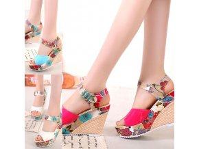 Dámské letní boty na platformě se vzory květin