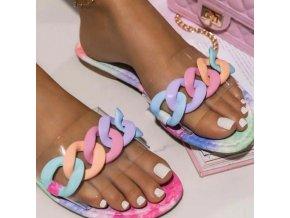 Dámské nádherné letní pantofle zdobené přeskou - více barev