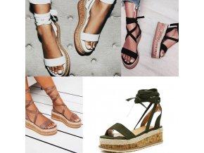 Nádherné letní zavazovací sandály s korkem