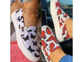 Dámské nazouvací bílé boty s potiskem motýlů