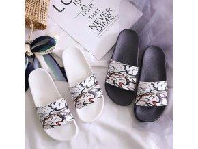 Dámské letní pohodlné pantofle s potiskem ornamentů