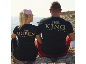 Černozlatá partnerská trika King + Queen
