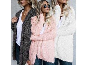 Dámský podzimní huňatý kabátek