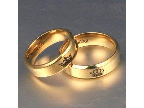 Pozlacené partnerské prstýnky King / Queen