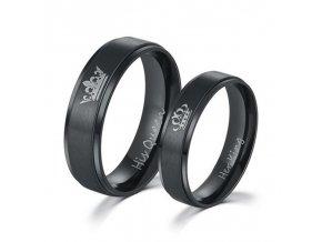 Titanově černé partnerské prsteny King / Queen