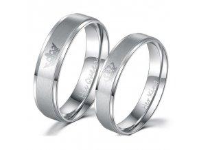 Stříbrné partnerské prsteny King / Queen