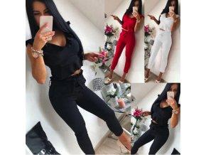 Elegantní dámský set- kalhoty + top s volánkem