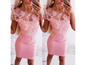 Luxusní růžové šaty s krajkou
