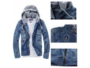 Pánská luxusní denimová podzimní bunda s odnímatelnou kapucí