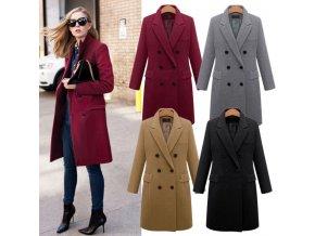 Dámský klasický vlněný kabát