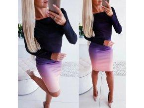 Luxusní podzimní ombré bodycon šaty