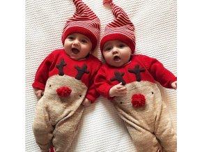 Dětské vánoční pyžamko s čepičkou - overal + čepička