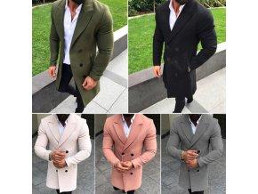 Pánský elegantní kabát s dvojřadým zapínáním