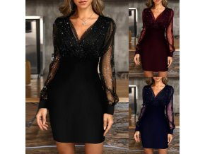 Dámské třpytivé nabírané šaty